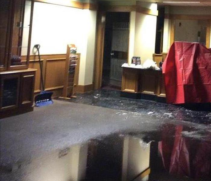 Water Damage in a Dallas Bank Before