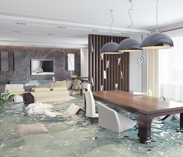 Furniture Floating in Dallas Flood Damage