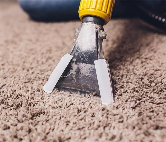 Vacuum wand removing water from carpet